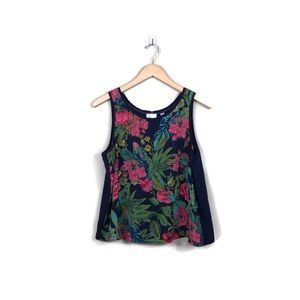 Anthropologie Floral Tank Tropical Navy
